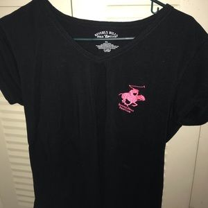 black polo shirt w pink logo